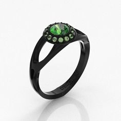 Decorum 14K Blac Gold 0.5 Ct Emerald Contemporary by DecorumRings