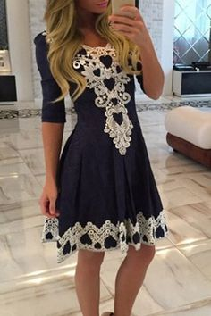 Stylish Women s 1/2 Sleeve Lace Splicing Round Neck A-Line Dress