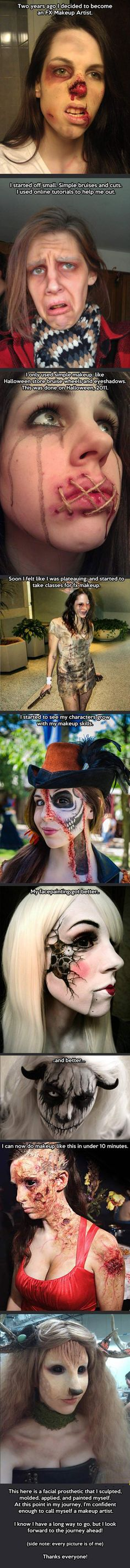 I give this girl a huge round of applause. I've seen special effects makeup put on and it's NOT easy. Props to her. Cosplay Makeup, Sfx Makeup, Costume Makeup, Makeup Fail, Prosthetic Makeup, Zombie Makeup, Halloween Cosplay, Halloween Make Up, Halloween Costumes