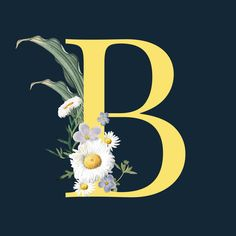 Letter b with blossoms Free Vector Wallpaper B, Monogram Wallpaper, Alphabet Wallpaper, Floral Letters, Monogram Letters, Image Hd, Free Image, Painted Letters, Flower Doodles