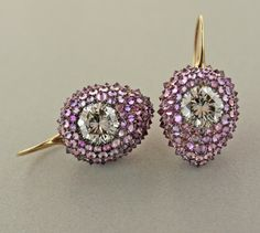 Purple Sapphire, White Diamond, Rose Gold, White Gold Ear Pendants by James de Givenchy I Love Jewelry, High Jewelry, Jewelry Design, Diamonds And Gold, Colored Diamonds, Purple Sapphire, Sapphire Diamond, Givenchy Jewelry, Pink Bling