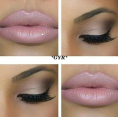 Beautiful pink lip with a lighter shade of eyeshadow. www.eyemajic.com