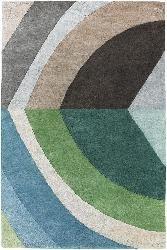 Hand-tufted Mandara Blue/ Green Wool Rug (5' x 7'6)