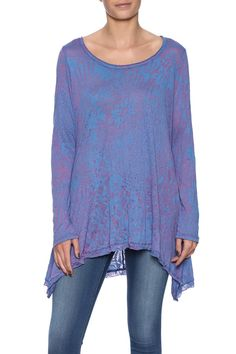 Amethyst to lilac burnout top with a wide boat neckline and long sleeves.   Gracy Burnout Top by Scarborough Fair. Clothing - Tops - Long Sleeve Clothing - Tops - Tunics Saint Paul, Minnesota
