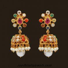 18k Gold Navarathna jhumka earrings by VBJ ~ South India Jewels