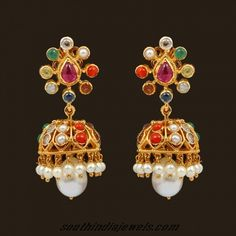 18k Gold Navarathna jhumka earrings by VBJ ~ South India Jewels