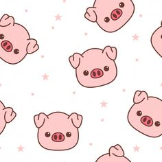 Pig Wallpaper, Flower Phone Wallpaper, Cute Wallpaper Backgrounds, Wallpaper Iphone Cute, Cute Cartoon Drawings, Kawaii Drawings, Cool Drawings, Kawaii Pig, Apple Watch Wallpaper