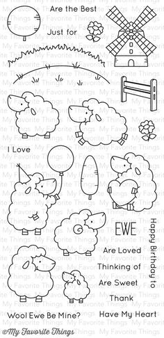 "MFT STAMPS: Ewe Are The Best x Clear Photopolymer Stamp Set) This 26 piece set includes: - Balloon sheep 1 x 2 ¼"" - Baby sheep x ¾"", Hills 2 ¼"" x ½"" - Windmill 1 ¼"" x 1 ½"", EWE Doodle Drawings, Doodle Art, Desenho Kids, Embroidery Patterns, Hand Embroidery, Baby Sheep, Karten Diy, Mft Stamps, Digital Stamps"