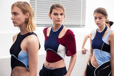 Sports bra layers backstage at Paco Rabanne SS15 PFW. More images here: http://www.dazeddigital.com/fashion/article/21944/1/paco-rabanne-ss15