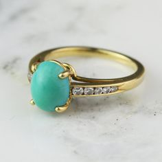 Turquoise Engagement Ring with Channel Set by HoardJewelry on Etsy