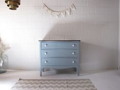 our design-antique blue dresser with porcelain knobs