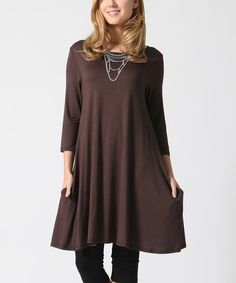 Another great find on #zulily! Brown Pocket Swing Tunic - Plus #zulilyfinds