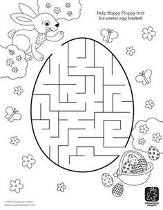 Free Easter Printable - Help Hoppy find his Easter egg basket in this a-mazing coloring activity for kids! Easter activities Add an A-MAZE-ing Addition to Your Easter Basket – FREE Printables Easter Colouring, Coloring Pages For Kids, Coloring Books, Kids Coloring, Easter Egg Coloring Pages, Free Coloring, Easter Art, Easter Crafts, Easter Eggs
