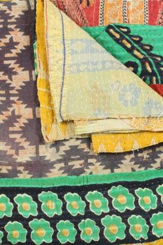 "One of a Kind Kantha Embroidered Throw - 55"" x 85"" on HauteLook"