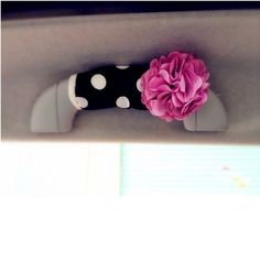 Polka Dots Grab Handle Cover with Flower - Carsoda