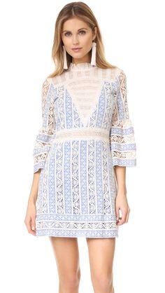 Column Crochet Bell Sleeve Dress