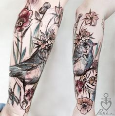 Tattoos of Birds and Flowers by Pliszka Magdalena Bad Tattoos, Time Tattoos, Great Tattoos, Beautiful Tattoos, Body Art Tattoos, Tattoos Of Birds, Modern Tattoos, Feminine Tattoos, Girly Tattoos