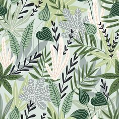 Fashion Illustration Patterns Seamless pattern with tropical leaves. Beautiful print with hand drawn exotic plants. Motif Tropical, Tropical Leaves, Style Tropical, Tropical Prints, Plant Wallpaper, Colorful Wallpaper, Wallpaper Murals, Leaves Wallpaper, Wallpaper Paste