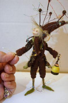 ooak poseable WOODLAND GNOME elf  ( 44 ) fairy pixie art doll by DinkyDarlings by DinkyDarlings on Etsy