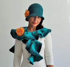 Felted SET ruffle SCARF and Hat with yellow flowers by GraceBits