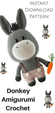 Instant Download in time for Easter .Donkey Amigurumi Crochet pattern PDF #Affiliate