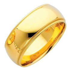 14K Yellow Gold 8mm COMFORT FIT Plain Milgrain Wedding Band Ring for Men & Women (Size 5 to 12) Goldenmine. $422.00. Brilliantly Crafted from the finest 14K gold available...Never Scrap. Comfort Fit for more Comfortable Wearing. Classic Styling with Up-to-date Manufacturing Techniques to ensure Comfort and ease of wear.. High Polished Finish. Promptly Packaged with Free Gift Box for Gift Giving