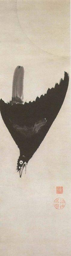 月に叭叭鳥図 Crested Myna Under The Moon 伊藤若冲 ITO Jakuchu:Haha-cho a.k.a Hakka-cho, Crested myna