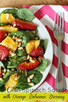 The perfect Spring & Summer salad! Strawberry Orange Spinach Salad with Orange Balsamic Dressing via @Nest of Posies #food #salad #summerfood #springfood