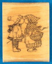 Little Boy and Girl Kissing Rubber Stamp - Trina Schart Hyman Kidstamps Love