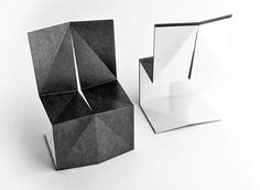 These incredible chairs by designers Enoc Armengol and Arnau Miquel even have a paper-like textured surface. They're each made from a single sheet of stainless steel folded into a hook shape and accented with slightly folded angles. The chair is available in either black or white leather finish.