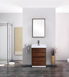 Shop for Bliss Walnut Free Standing Modern Bathroom Vanity. Get free delivery On EVERYTHING* Overstock - Your Online Furniture Outlet Store! Single Sink Vanity, Vanity Sink, Bath Vanities, Modern Vanity, Modern Bathroom, Small Bathroom, Composite Sinks, Walnut Floors