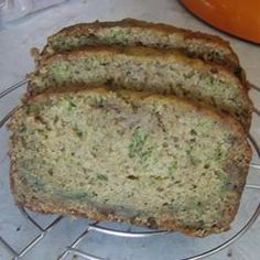 Kingman's Vegan Zucchini Bread Allrecipes.com.  I make this ALL the time.  I add whatever other goodies I have like dried apricots, cranberries, raisins, figs.  It is like having a fruit cake!  But you can leave it plain and it is great.