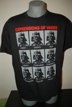 New StarWars Star Wars Expressions of Darth Vader Funny Black Tee T-shirt Shirt