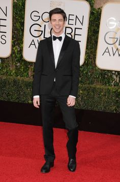 Grant Gustin arrives at the 73rd Annual Golden Globe Awards