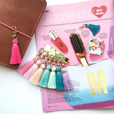 The folks over at HGTV magazine have a Tiny Tassel keychain in every color..... do you?  Super cute, petite size, and handmade by yours truly.  Add them to your traveler's notebook, cosmetic zip bags, or even car keys! As featured in HGTV May 2016 issue.