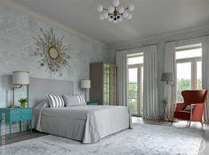 Гостевая спальня. Кровать и прикроватные тумбочки сделаны за заказ. Светильники, Restoration Hardware. Зеркало, Eichholtz.