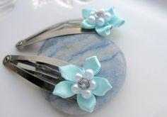 Blue Flower Hair Clips Hair Clip Flower Silver by EyeCandiByCandi