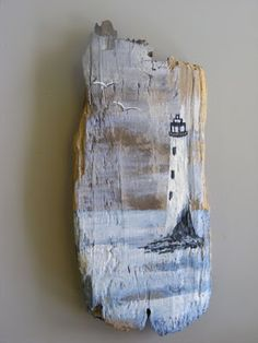 Lighthouse painting on driftwood Painted Driftwood, Driftwood Art, Driftwood Beach, Painted Wood, Painted Boards, Painted Rocks, Driftwood Projects, Driftwood Ideas, Pallet Art