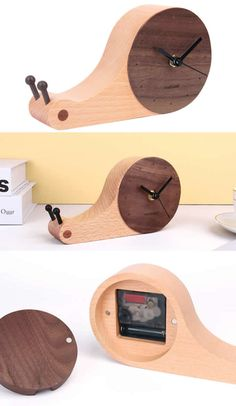 Art Deco style Handmade Wooden Snail Round Desk wall clock Made from Wooden and Metal