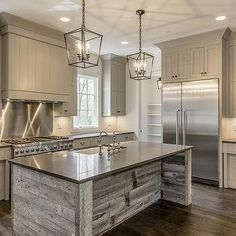 Reclaimed Barn Wood Kitchen Island with Gray Quartz Countertop