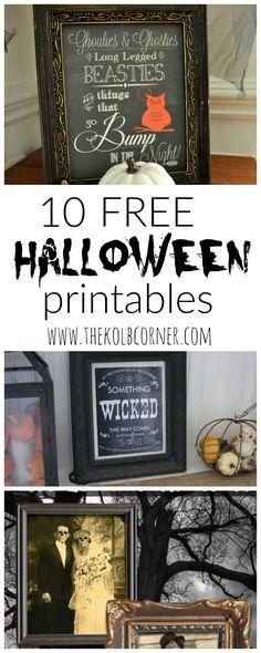 10 Free Halloween Printables - The Kolb Corner