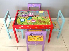 Baby Owls Play Table and 4 Chairs for Children 1 by PaintedbyLinda, $350.00