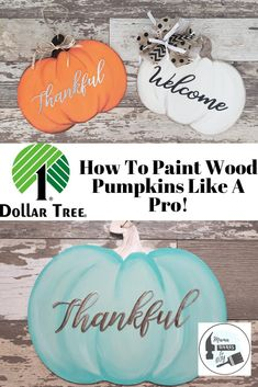 Dollar Tree Painted Door Hanger Watch this tutorial and youll be painting pumpkins like a pro in no time! Spice up your fall decor with a Dollar Tree hand painted Pumpkin Door Hanger! Dollar Tree Pumpkins, Dollar Tree Fall, Dollar Tree Decor, Wood Pumpkins, Dollar Tree Crafts, Painted Pumpkins, Fun Craft, Craft Ideas, Pumpkin Door Hanger