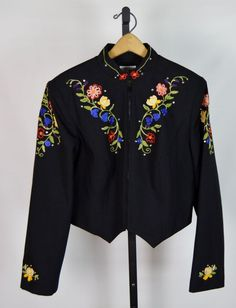 VTG Hobby Horse Women's Size Large Floral Embroidered Country Western Show Shirt #HobbyHorse