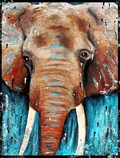 Blue Water Elephant Abstract, Original painting,modern art,india,elephant art, waterfall, elephant in water,acrylic