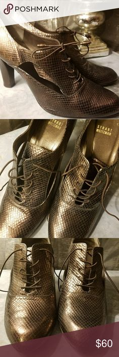 Stuart Weitzman Bronze heels Bronzy & beautiful Stuart Weitzman oxford style heels. Perfect for the office, church or a nice dinner w/the bae. (No box) Stuart Weitzman Shoes Heels