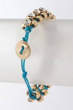 Turquoise cord and chaton bracelet, back view.