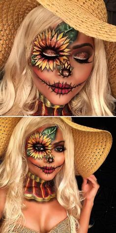 Are you looking for ideas for your Halloween make-up? Check out the post right here for creepy Halloween makeup looks. Costume Halloween, Scarecrow Halloween Makeup, Halloween Makeup Looks, Women Halloween, Halloween Party, Halloween Decorations, Vintage Halloween, Outdoor Halloween, Halloween College