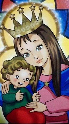 IMAGENES DE MARIA AUXILIADORA AUSILIATRICE AUXILIATRICE HELP OF CHRISTIANS Mothers Love, Virgin Mary, Disney Characters, Fictional Characters, Aurora Sleeping Beauty, Disney Princess, Celestial, Art, Frases