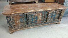 Truhe Kiste Aufbewahrung Couchtisch Antik Kolonial Vintage Industrial Massivholz